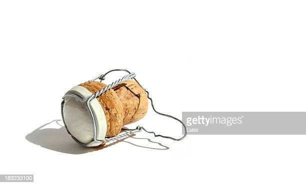 one champagne cork (serie of images) - cork material stock pictures, royalty-free photos & images