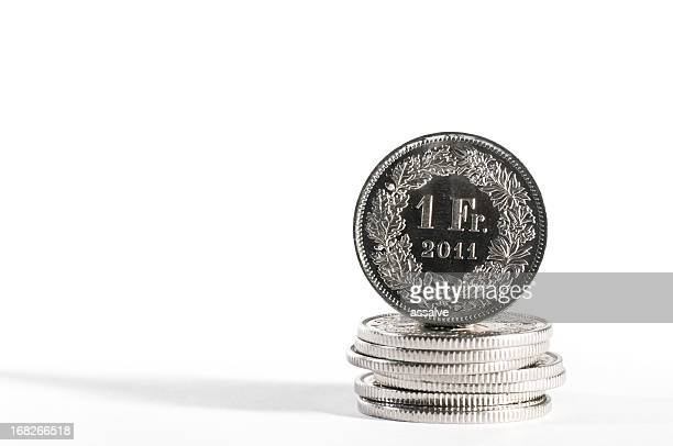 one CHF swiss currency coin with year 2011