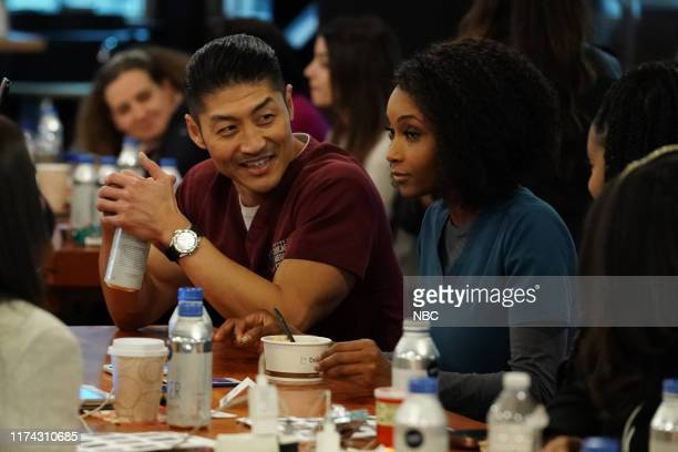 """One Chicago Day"""" -- Pictured: Brian Tee, Yaya DaCosta, """"Chicago Med"""" at """"One Chicago Day"""" at Lagunitas Brewing Company in Chicago, IL on October 7,..."""