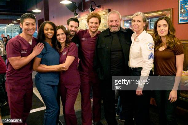 "One Chicago Day"" -- Pictured: Brian Tee, Yaya DaCosta, Torrey DeVitto, Colin Donnell, Nick Gehlfuss, ""Chicago Fire""; Dick Wolf, Executive Producer;..."
