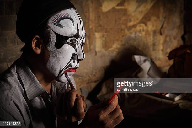 one Chinese opera actor in make-up