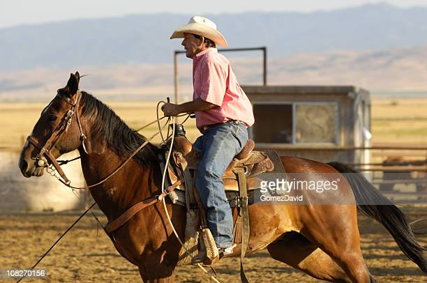 One Cowboy in Rural Rodeo Arena