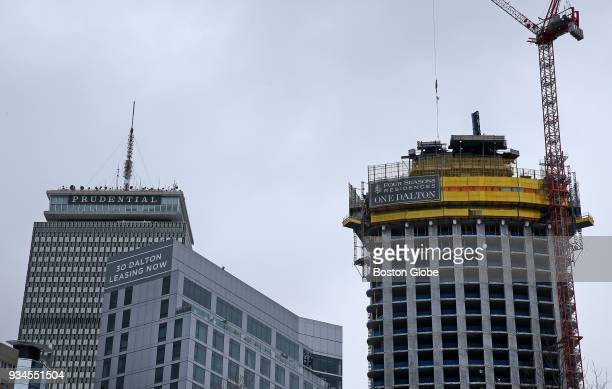 One Dalton right is pictured under construction in Boston on March 9 2018 Under construction since early 2015 the One Dalton tower Dick Friedmans...