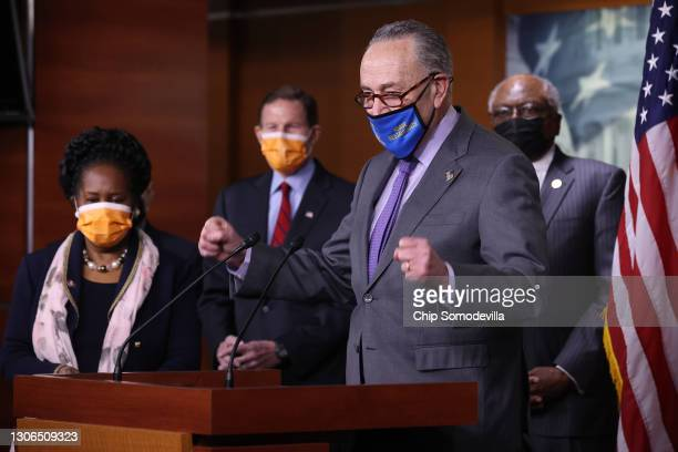 One day after Congress passed a $1.9 trillion COVID-related stimulus package, Rep. Shelia Jackson Lee , Sen. Richard Blumenthal , Senate Majority...