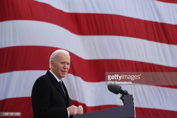 "One day before being inaugurated as the 46th president of the United States, President-elect Joe Biden delivers remarks at the Major Joseph R. ""Beau""..."