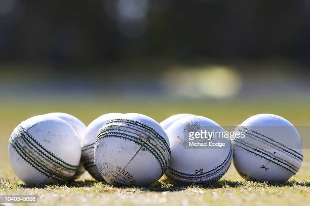 One day cricket balls are seen during the JLT One Day Cup between Victoria and Western Australia at Junction Oval on September 26 2018 in Melbourne...