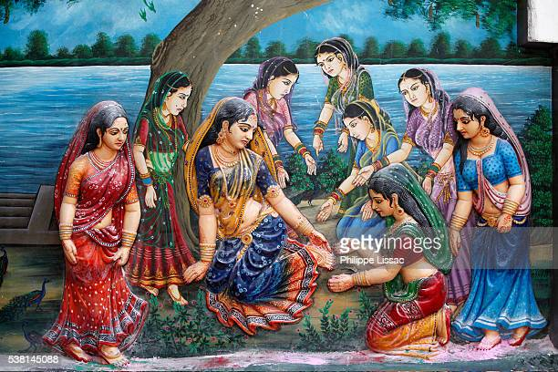 One day when Radha was walking to meet Krishna, she stepped on the thick bark of a ripe tamarind fruit and it cut her foot. This made her delay in meeting Krishna; therefore she cursed the tree that its fruits would not ripen.