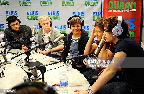 One Direction band members Zayn Malik Niall Horan Louis Tomlinson Liam Payne and Harry Styles visit The Elvis Duran Z100 Morning Show at Z100 Studio...