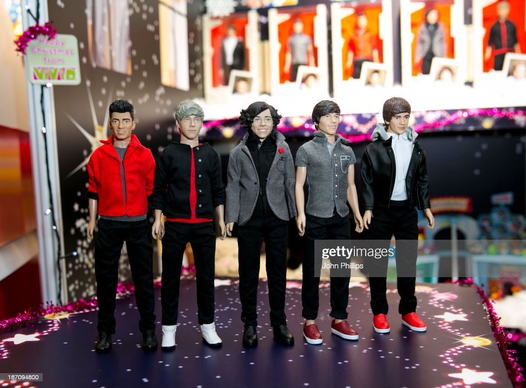 One Direction dolls are displayed at the Dream Toys 2013 press day at St Mary's on November 6, 2013 in London, England.