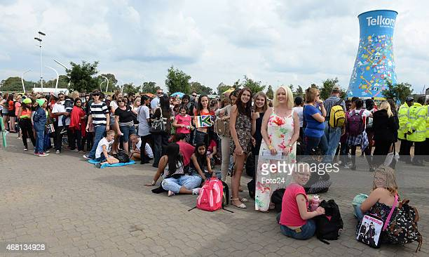 One Direction fans outside the FNB stadium ahead of the concert on March 28 2015 in Johannesburg South Africa This was the British boy bands first...