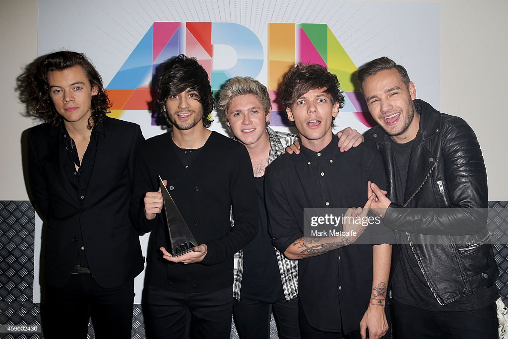 One Direction (L-R) Harry Styles, Zayn Malik, Niall Horan, Louis Tomlinson and Liam Payne pose for a portrait backstage during the 28th Annual ARIA Awards 2014 at the Star on November 26, 2014 in Sydney, Australia.