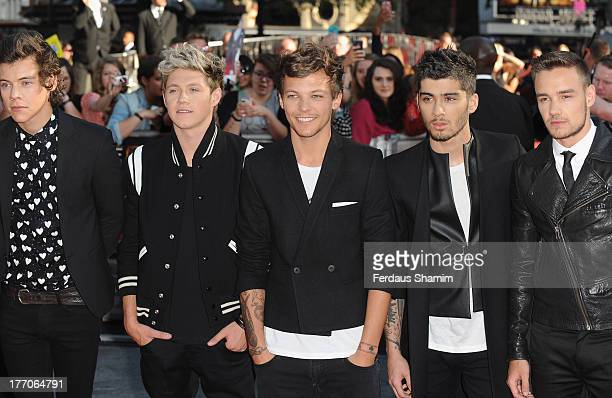 One Direction Members Harry Styles Niall Horan Louis Tomlinson Zayn Malik and Liam Payne attend the World Premiere of 'One Direction This Is Us' at...