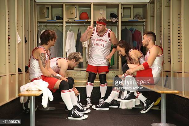 One Direction members Liam Payne Harry Styles Louis Tomlinson and Niall Horan join James Corden's Dodgeball team on 'The Late Late Show with James...