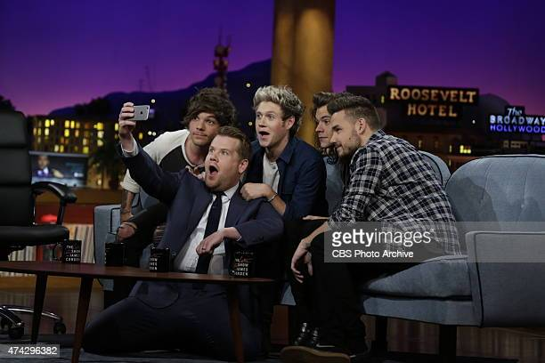 One Direction members Liam Payne Harry Styles Louis Tomlinson and Niall Horan join James Corden's Dodgeball appear on The Late Late Show with James...