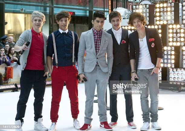 "One Direction Niall Horan, Louis Tomlinson, Zayne Malik, LiamPayne, Harry Styles perform on NBC's ""Today"" at Rockefeller Plaza on March 12, 2012 in..."