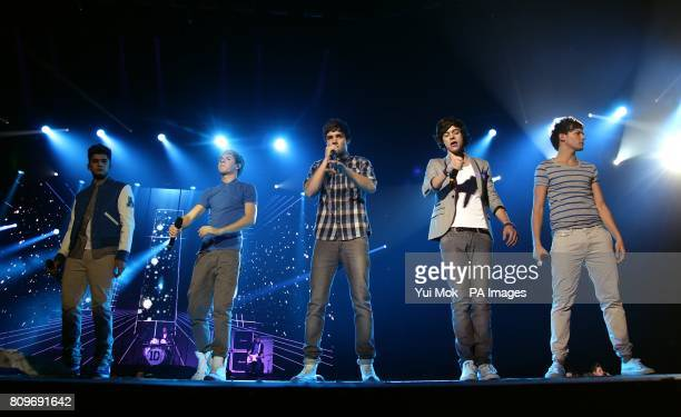 One Direction on stage during the 2011 Capital FM Jingle Bell Ball at the O2 Arena London