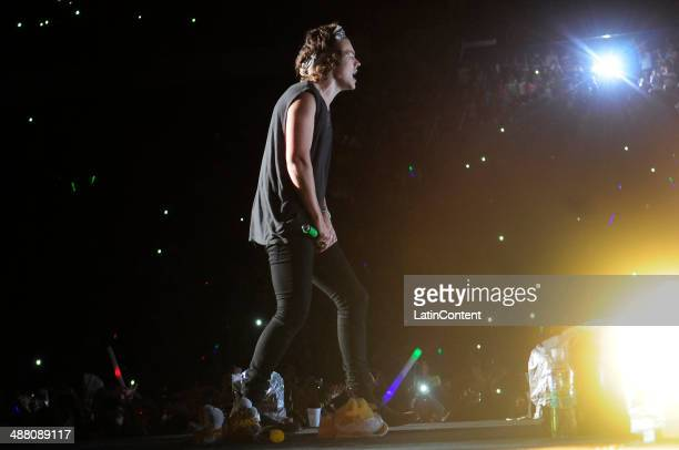 One Direction performs at the stage during their presentation as part of the tour Where We Are Tour at Velez Sarsfield Stadium on May 03 2014 in...