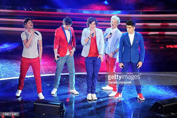 One Direction performs on stage at the fourth day of the 62th Sanremo Song Festival at the Ariston Theatre on February 17 2012 in SANREMO Italy
