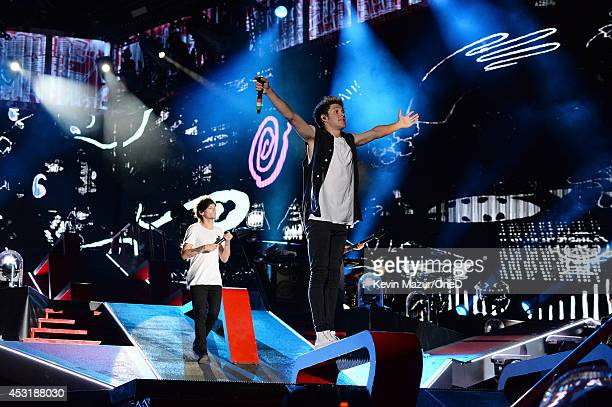 One Direction performs onstage during the 'Where We Are' tour at Met Life Stadium on August 4 2014 in New York City