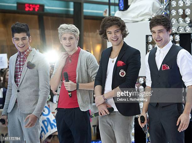 One Direction Zayne Malik Niall Horan Harry Styles and Liam Payne perform on NBC's Today at Rockefeller Plaza on March 12 2012 in New York City