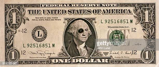 us one dollar banknote, george washington with black eye - one dollar bill stock pictures, royalty-free photos & images