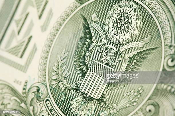 one dollar bill & the great seal - one dollar bill stock pictures, royalty-free photos & images
