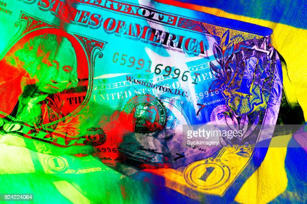 US one dollar bill washed in color