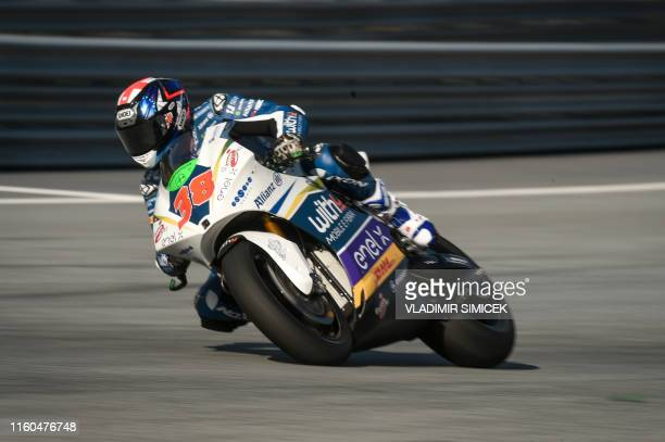 One Energy Racing's Bradley Smith of Great Britain rides his motorbike during the second free practice session of the Moto E event of Austrian Moto...