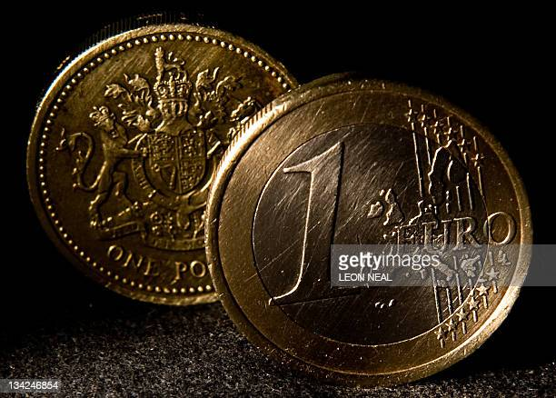 A one euro coin is pictured with a British sterling one pound coin in London on September 22 2009 The British pound dropped to a five month low...