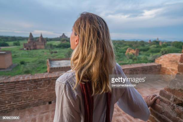 One female contemplating the Bagan ancient temples, Myanmar