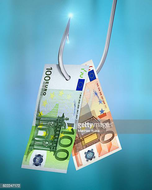 One fifty and one hundred euro note on a fishhook