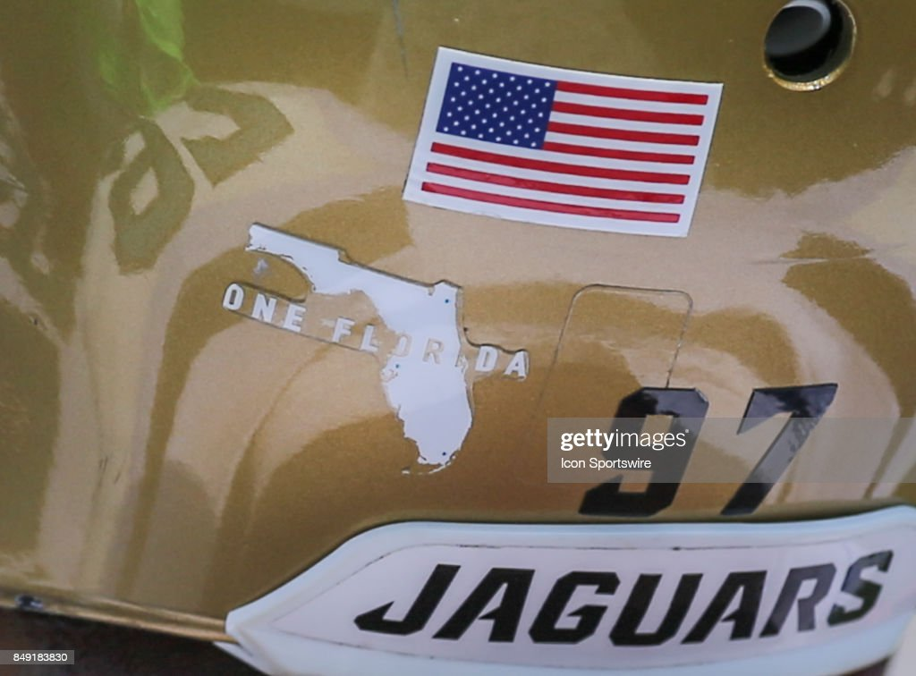 A 'One Florida' sticker is shown on the back of a Jacksonville Jaguars helmet to show support and unity following the aftermath of Hurricane Irma during the game between the Tennessee Titans and the Jacksonville Jaguars on September 17, 2017 at EverBank Field in Jacksonville, Fl.