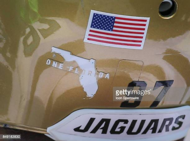 A One Florida sticker is shown on the back of a Jacksonville Jaguars helmet to show support and unity following the aftermath of Hurricane Irma...