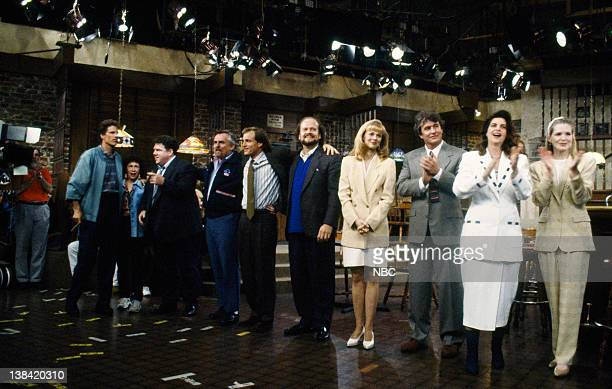 CHEERS One for the Road Episode 25 Aired 5/20/93 Pictured Ted Danson as Sam Malone Rhea Perlman as Carla Tortelli George Wendt as Norm Peterson John...