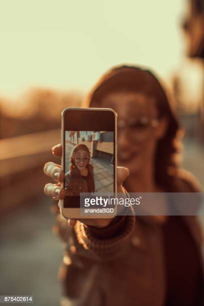one girl - camera girls stock photos and pictures