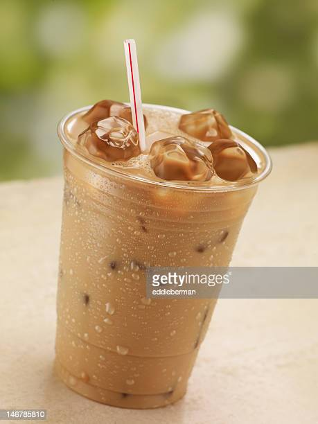 one glass of iced coffee - iced coffee stock pictures, royalty-free photos & images