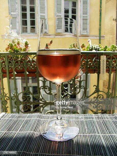 One glass of rose wine