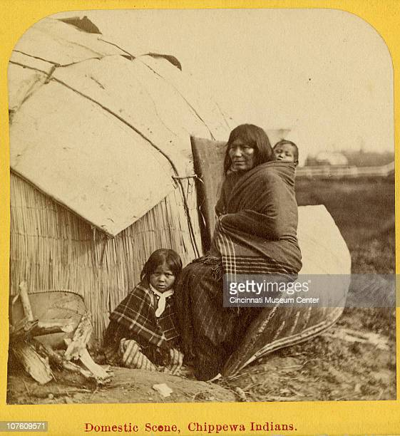 One half of a stereoscope view of a Chippewa domestic scene showing a mother and her two children sitting upon a birch bark canoe outside their birch...