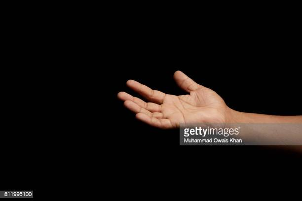 One hand open