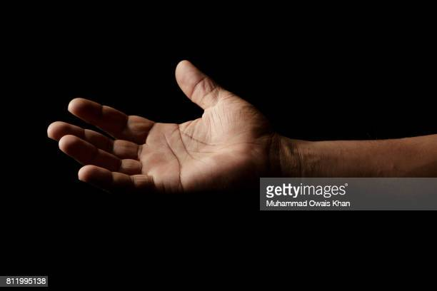 one hand open - hands cupped stock pictures, royalty-free photos & images