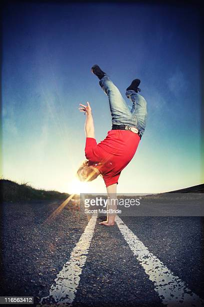 one handed handstand - scott macbride stock pictures, royalty-free photos & images