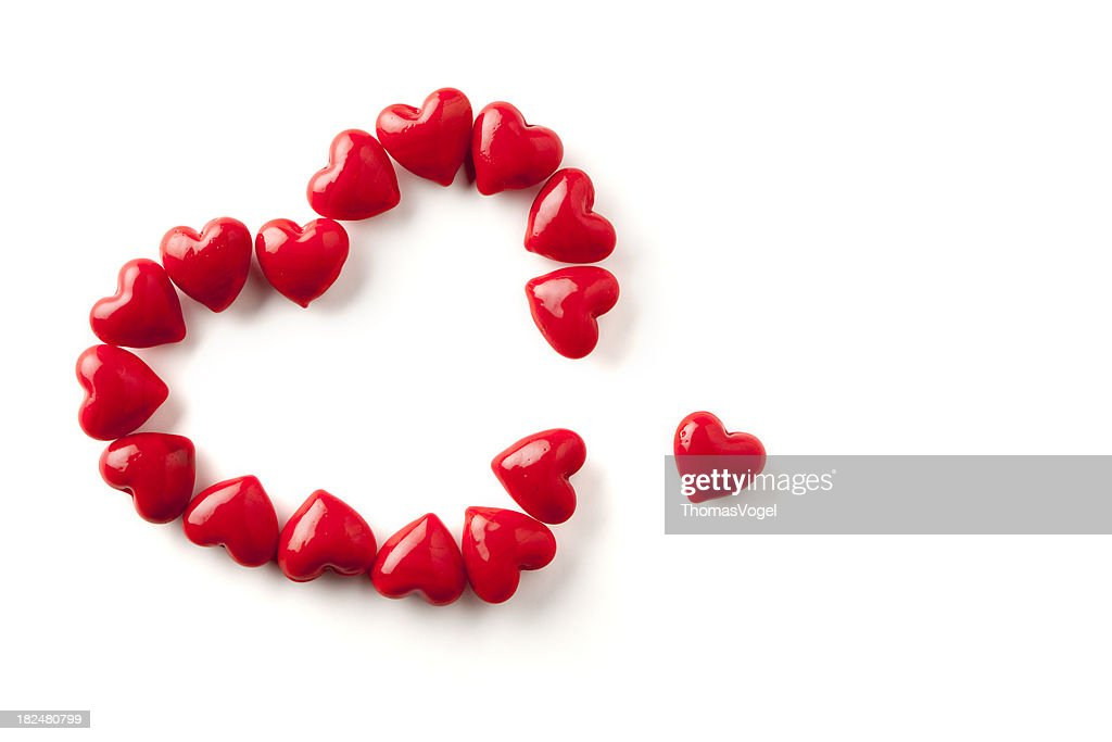 One Heart Missing Love Valentines Day Red Background Shiny Symbol