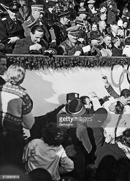 One hundred and fifty thousand spectators were present at GarmischPartenkirchen Germany when Reichsfuhrer Hitler brought the Winter Olympics to a...