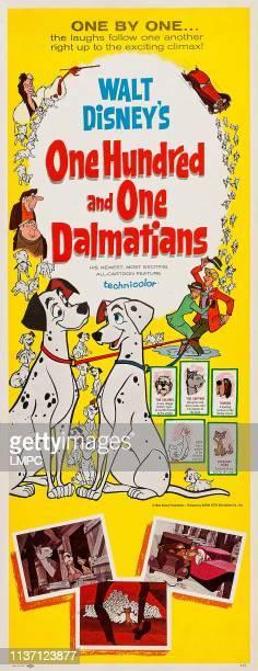 One Hundred And One Dalmatians poster from top Cruella De Vil Jasper Badun Horace Badun Pongo Perdita Anita Roger The Colonel The Captain Towser Lucy...