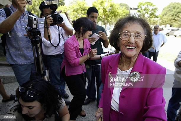 One hundred and one yearold Karel Mathilda Spark arrives at the Los Angeles County Registrar's Office in Norwalk CA to register her candidacy during...