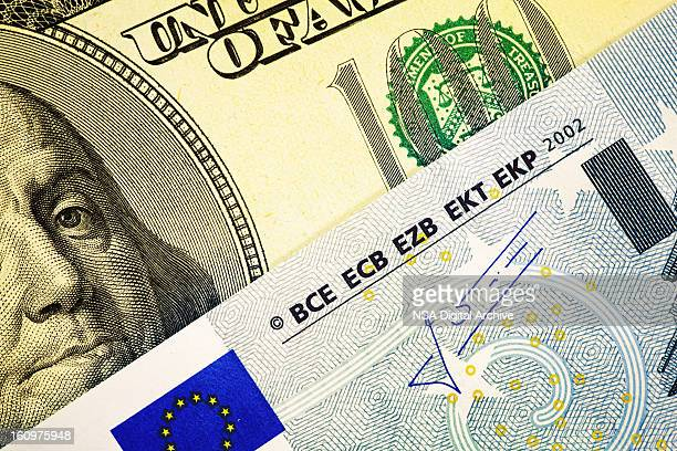 One Hundred Dollar Bill and European Union Euro Note