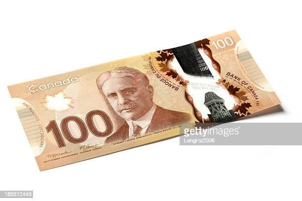 one hundred dollar bill - canadian one hundred dollar bill stock pictures, royalty-free photos & images