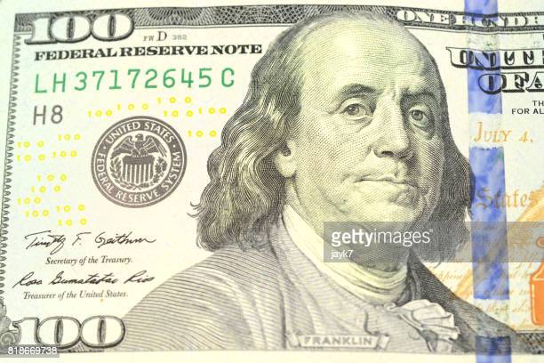 us one hundred dollar bill - economic stimulus stock pictures, royalty-free photos & images