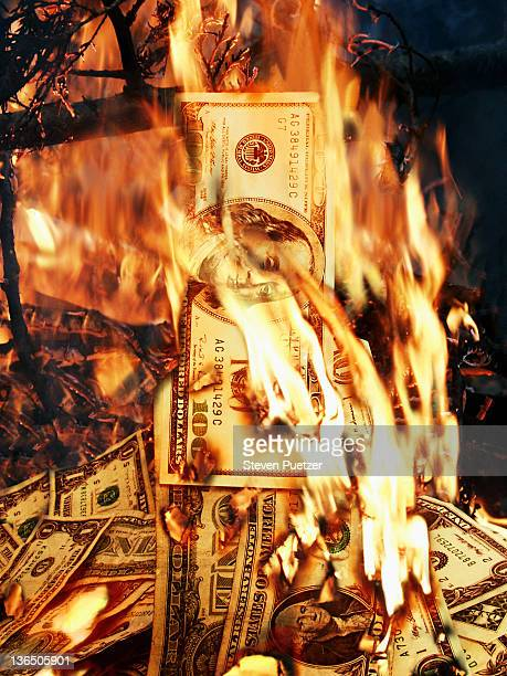 US One Hundred Dollar Bills in fire