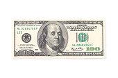 One hundred dollars isolated on white background.